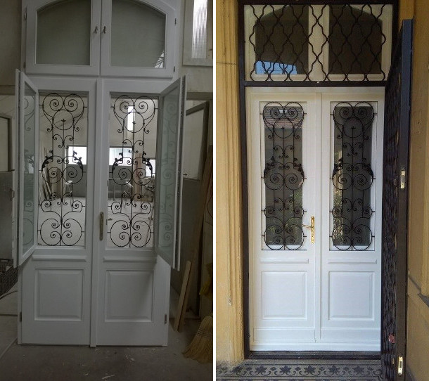 Épületasztalos - Fa bejárati ajtó és rácsos ajtó
