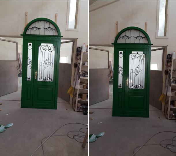 Épületasztalos - Zöld Fehér Bejárati ajtó - Külső oldal