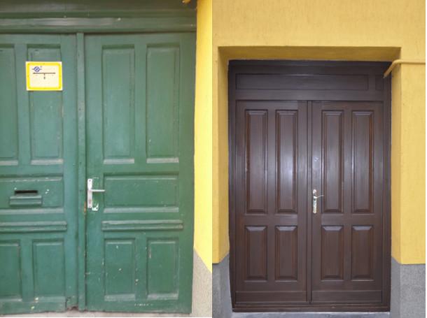 Épületasztalos - Bejárati ajtó barna beépítve (ilyen volt ilyen lett)
