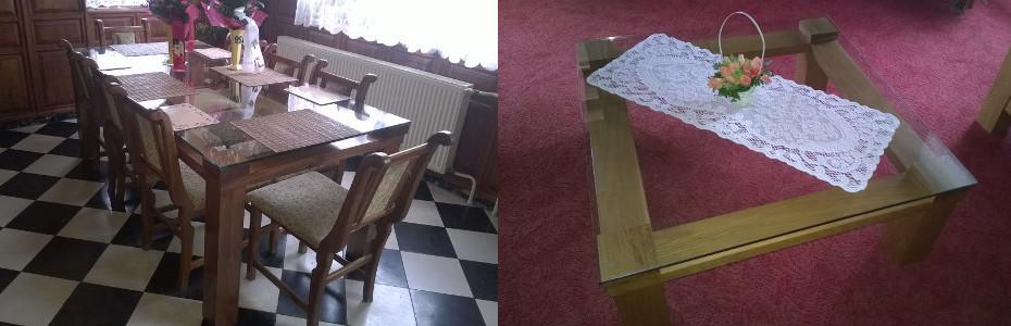 Bútorasztalos - Tömör tölgy asztal és dohányzó asztal edzett üveglappal